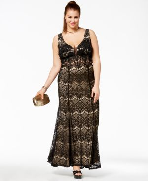 Trendy Plus Size Corset-Back Lace Gown
