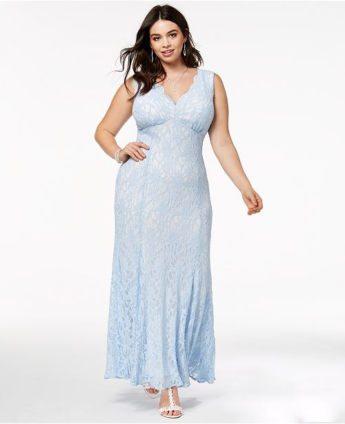 Morgan Ice Plus Gown Blue Size Lace Trendy Glitter Company amp; Rq8xfrwR