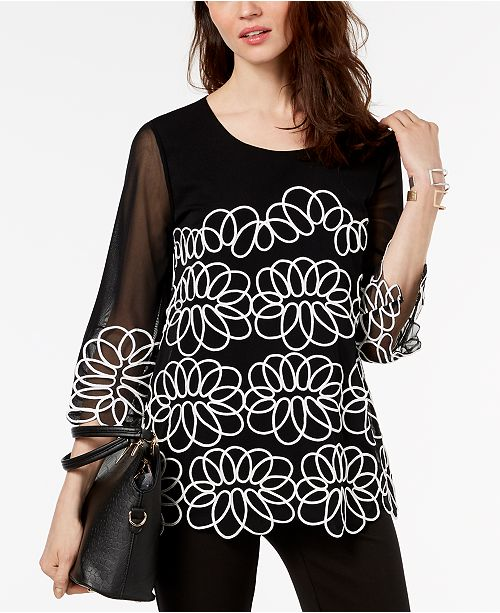68f4502f84261 ... Alfani Embroidered Mesh-Sleeve Top