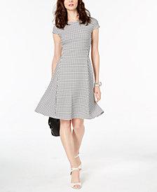 Alfani Printed Jacquard Fit & Flare Dress, Created for Macy's