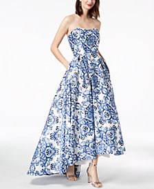 Betsy & Adam Strapless Printed Ball Gown