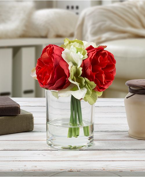 "Trademark Global Pure Garden Hydrangea & Red Rose Floral Arrangement with Vase, 3.25"" x 6.5"" x 3.25"""