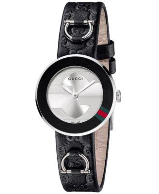 Women's U-Play White Guccissima Leather Watch Band Strap and Bezel 27mm YFA50031
