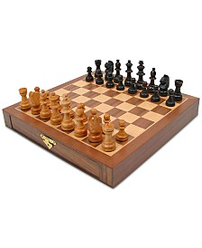 "Inlaid Wood Magnetized Chess Board with Staunton Wood Chessmen, 1.375"" x 9.875"" x 9.875"""