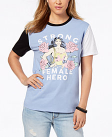Love Tribe Juniors' Wonder Woman Female Hero Graphic Ringer T-Shirt