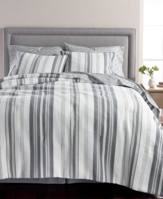 Ridge Stripe Cotton 8-Pc. Queen Comforter Set, Created for Macy's