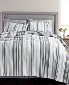 Martha Stewart Collection Ridge Stripe Cotton 8-Pc. Queen Comforter Set, Created for Macy's