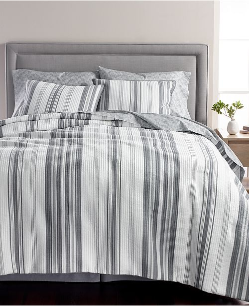 Martha Stewart Collection LAST ACT! Ridge Stripe Cotton 8-Pc. Queen Comforter Set, Created for Macy's