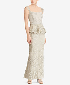 Lauren Ralph Lauren Floral-Embroidered Metallic Gown