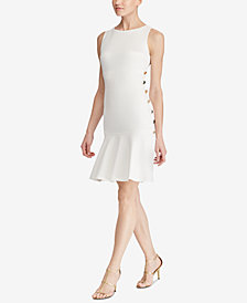 Lauren Ralph Lauren Button-Trim Fit & Flare Dress