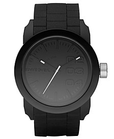 Unisex Black Silicone Strap Watch 44mm DZ1437