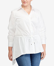 Lauren Ralph Lauren Plus Size Poplin Cotton Shirt