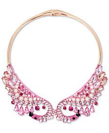 "Betsey Johnson Rose Gold-Tone Multi-Stone & Imitation Pearl Flamingo Hinged 16"" Collar Necklace"