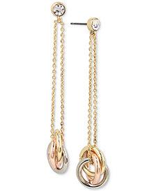 Kenneth Cole New York Tri-Tone Crystal Triple-Ring Linear Drop Earrings