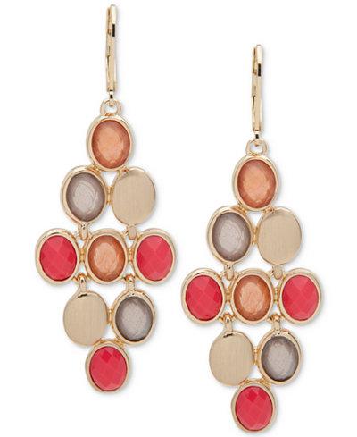 Anne Klein Gold-Tone Multi-Stone Chandelier Earrings
