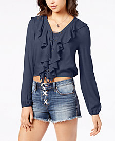 American Rag Juniors' Lace-Up Ruffle Top, Created for Macy's