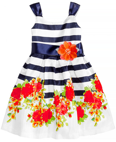 Bonnie Jean Striped Floral-Print Shantung Dress, Little Girls