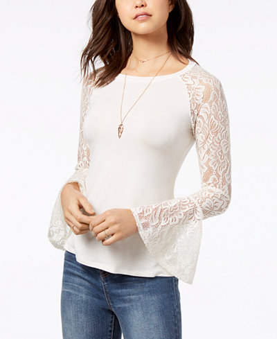 American Rag Juniors' Lace Bell-Sleeve Top, Created for Macy's