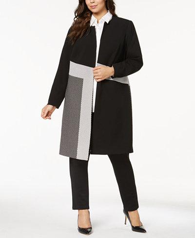 Calvin Klein Plus Size Colorblocked Topper Jacket