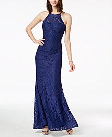 Betsy & Adam Beaded Lace Halter Gown