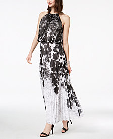 MSK Chain-Neck Pleated Blouson Gown