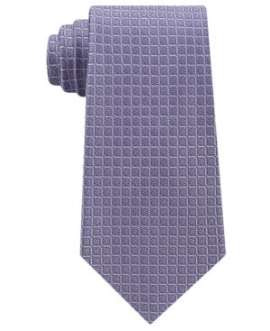 Calvin Klein Men's Simple Grid Silk Tie