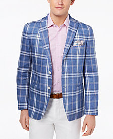 Tallia Orange Men's Modern-Fit Blue Plaid Sport Coat