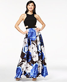 Blondie Nites Juniors' Printed-Skirt Illusion Gown