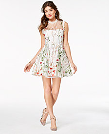 City Studios Juniors' Floral-Embroidered Fit & Flare Dress, Created for Macy's