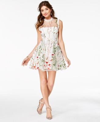 City Studios Juniors Floral Embroidered Fit Flare Dress Created For Macys