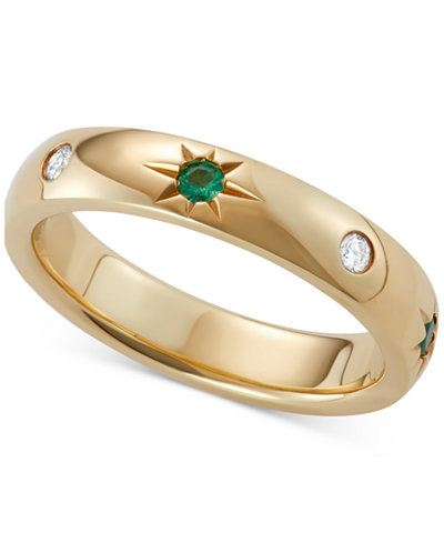 Marchesa Emerald (1/10 ct. t.w.) & Diamond (1/10 ct. t.w.) Wedding Band in 18k Gold, Created for Macy's