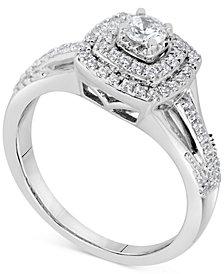 Diamond Square Halo Bridal Set (5/8 ct. t.w.) in 14k White Gold