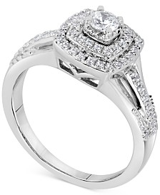 Diamond Square Halo Bridal Set (5/8 ct. t.w.) in 14k White Gold