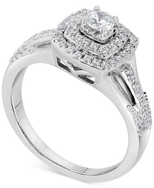 Macy's Diamond Square Halo Bridal Set (5/8 ct. t.w.) in 14k White Gold