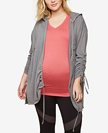 Motherhood Maternity Plus Size Ruched Zip-Front Hoodie