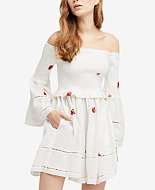 Free People Counting Daisies Embroidered Off-The-Shoulder Dress