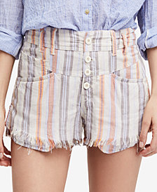 Free People High-Rise Printed Frayed Shorts