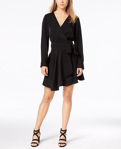 Bar III Asymmetrical Surplice Flounce Dress, Created for Macy's