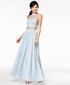 Sequin Hearts Juniors' 2-Pc. Crochet & Embellished-Waist Gown