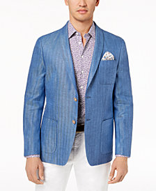 Tallia Orange Men's Modern-Fit Blue Tonal Herringbone Sport Coat
