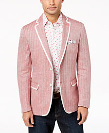 Tallia Orange Men's Modern-Fit Red Herringbone Sport Coat