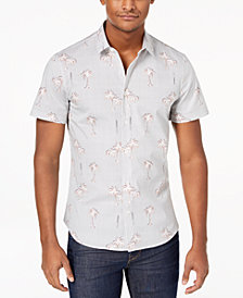 Versace Men's Pinstripe Palm-Print Shirt