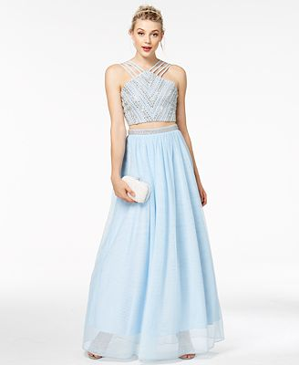 Say Yes To The Prom Juniors 2 Pc Embellished Crop Top Skirt