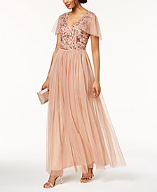 Adrianna Papell Beaded Cape Gown
