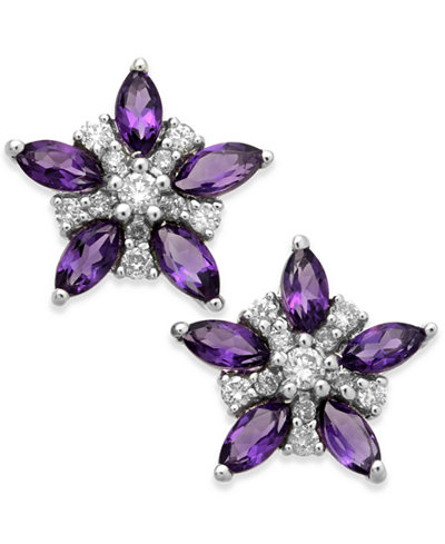 Amethyst (9/10 ct. t.w.) & Diamond (1/5 ct. t.w.) Flower Stud Earrings in 14k White Gold