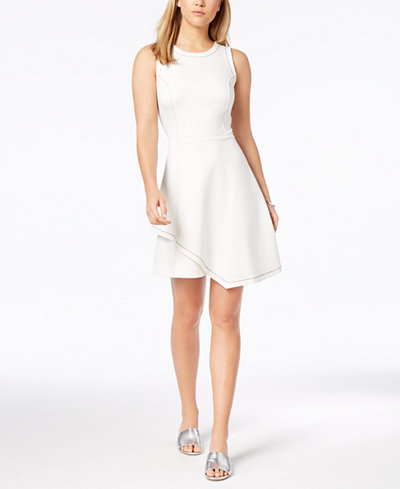 Bar III Contrast-Stitch Layered-Hem Fit & Flare Dress, Created for Macy's