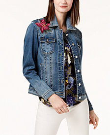 I.N.C. Embroidered Denim Jacket, Created for Macy's