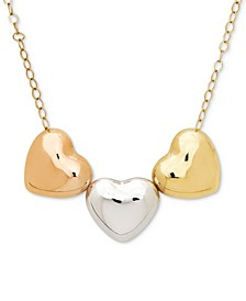 Tri-Color Polished Heart Pendant Necklace in 10k Gold, White Gold & Rose Gold