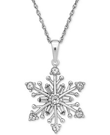 "Cubic Zirconia 18"" Snowflake Pendant Necklace in Sterling Silver"