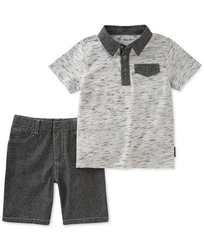 Calvin Klein 2-Pc. Polo & Cotton Shorts Set, Little Boys